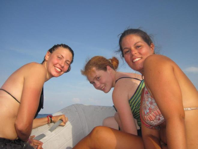 My crewmateys Sam and Julie, on our first diving trip.