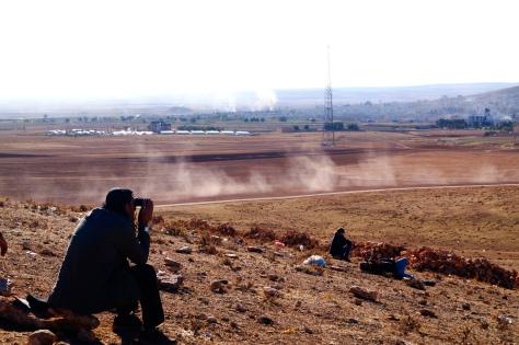 Watching the smokes of Kobane