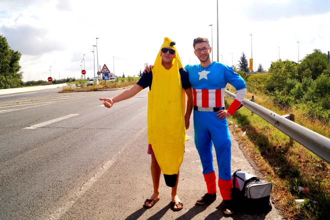 Met these dudes while hitchhiking in France one time. No, they did not lose a drunk bet.